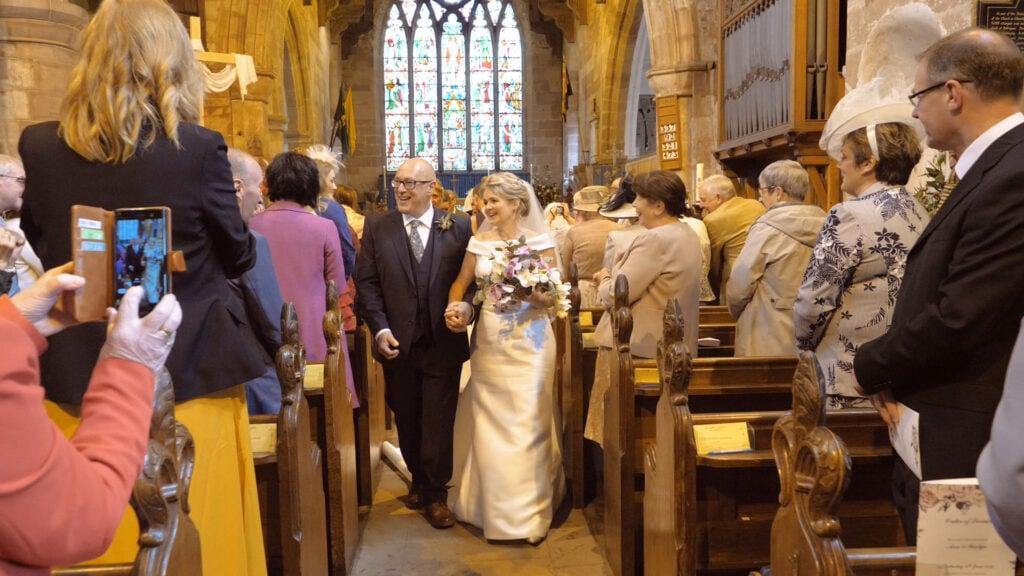 Ann and Martyn Church Wedding Exiting Claverley Church